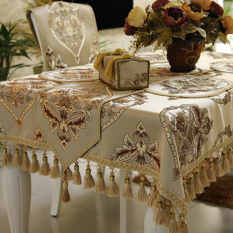 Wonderful Light Beige Brown Europe American Style Formal Dinning Table Covers Runners  / Custom Size Home Decorative