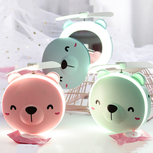 LED Makeup Bear Mirror USB Rechargeable Pocket Animal Fold Portable Light Summer Fan Beauty Tools for Beautiful Women