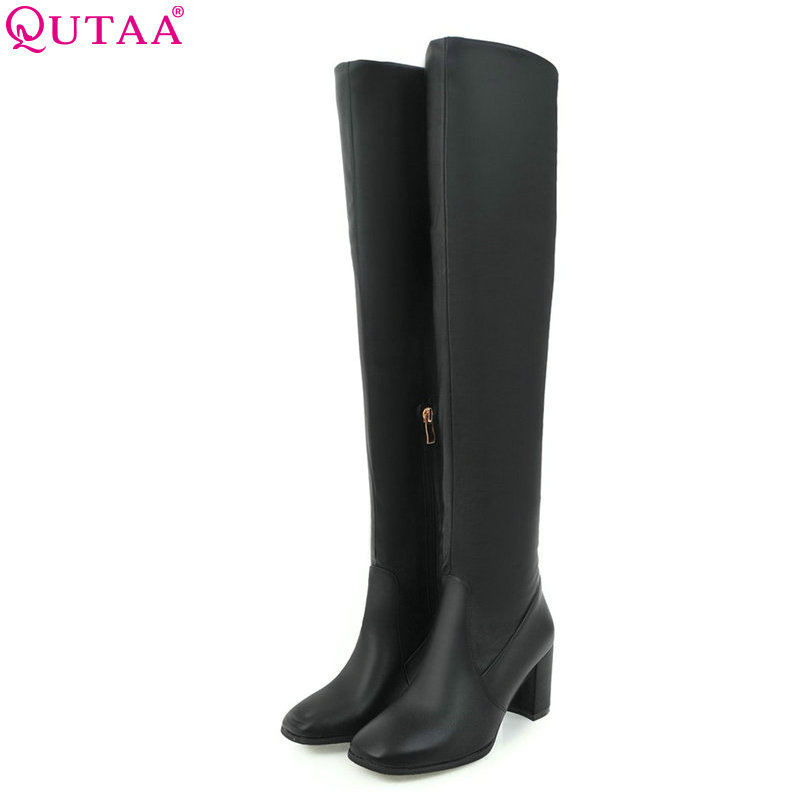 QUTAA 2017 Square Toe Fashion Women Over The Knee High Boots Zipper Design Westrn Style Pu Leather Women Boots Size 33-43 simplicity buckle and pu leather design women s over the knee boots