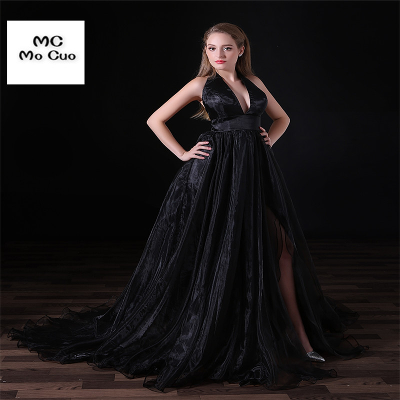 614e057d165 Black New Prom Dresses Off Shoulder Organza with Lace Ruffles Halter Organza  Evening Party Prom Dress
