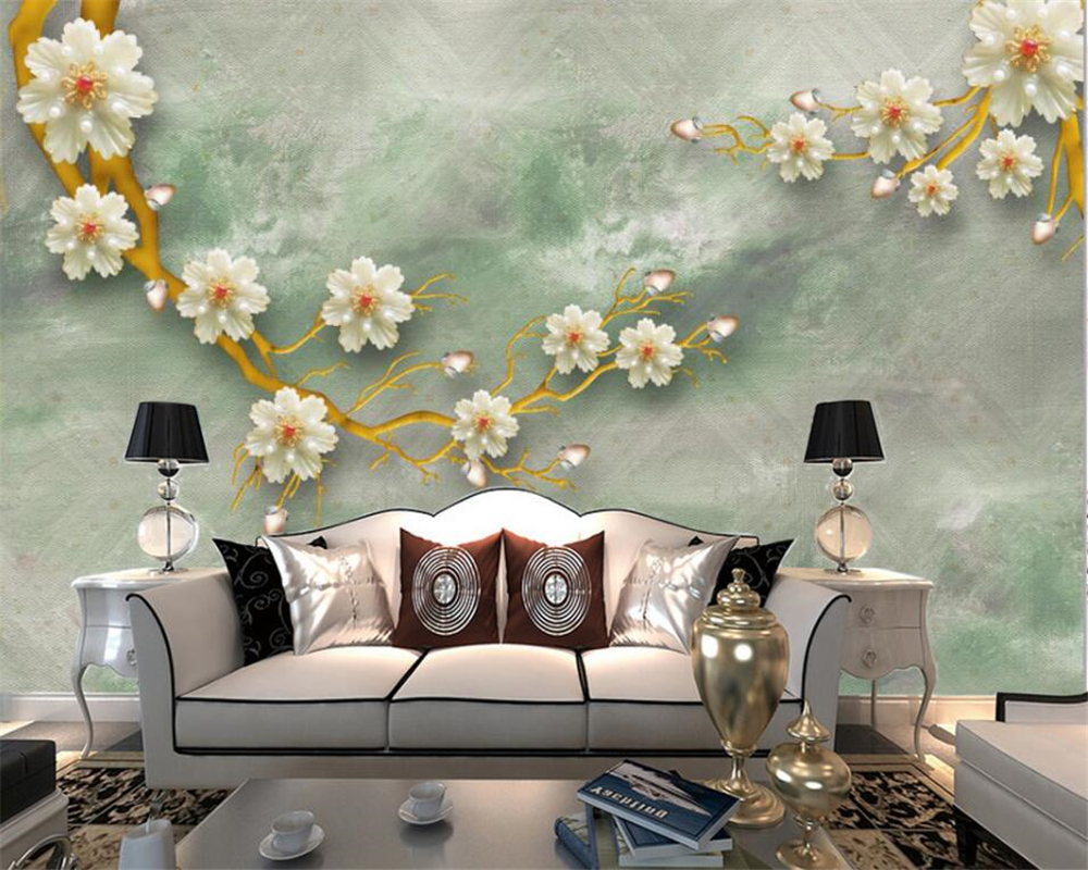 Beibehang New Chinese Gold Jewelry Satin TV Wall 3D Wallpaper House Decoration Living Room Mural wallpaper for walls 3 d