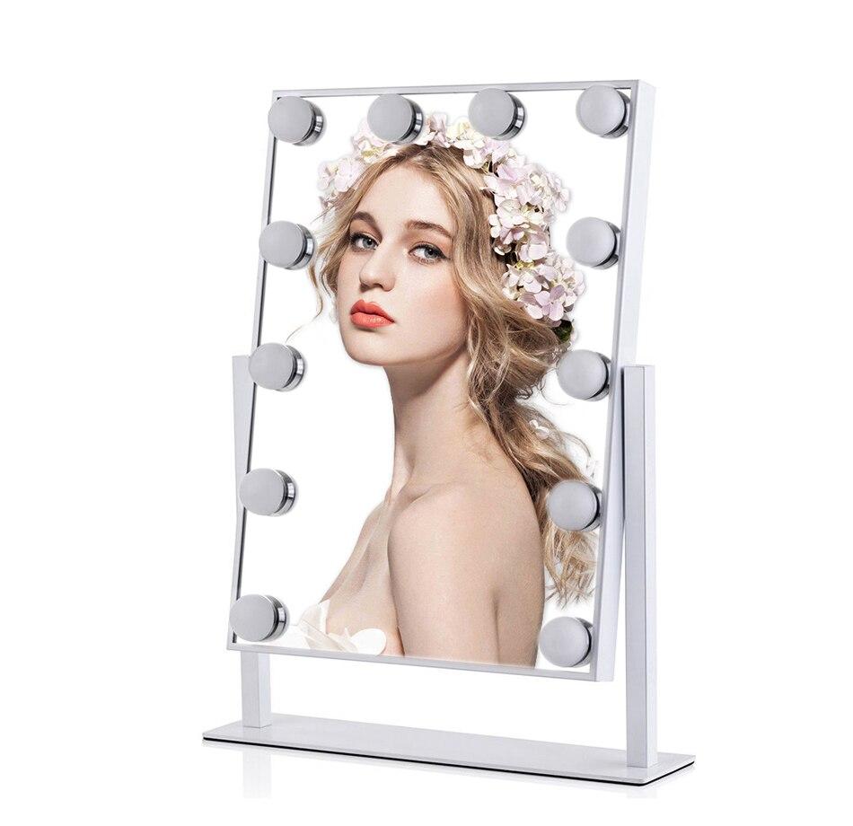 Голливуд косметическое зеркало с 12 светодио дный лампы 360 градусов вращения Косметика светодио дный зеркало для красоты столы салона