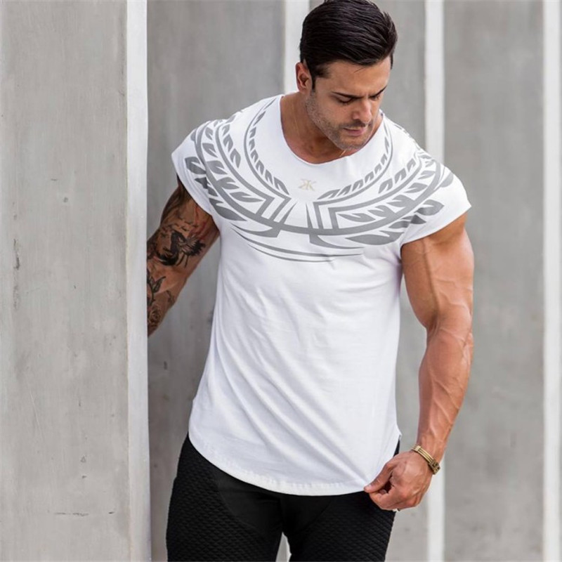 YEMEKE 2018 New Brand clothing Gyms Fashion printing mens fitness   t  -  shirt   homme Gyms   t     shirt   men fitness Summer top