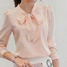 New Spring Summer Blouses Bow Collar Women Blouse Female Long Sleeve Shirts Fashion Leisure Chiffon Shirt Office Ladies Tops