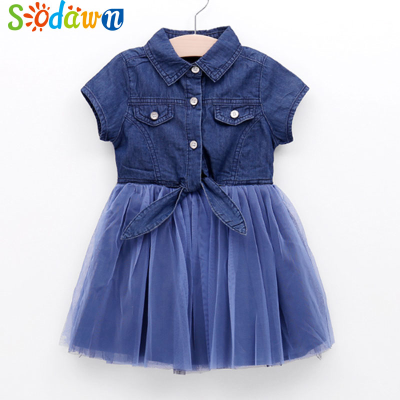 Sodawn Baby Girl Clothes Kids Dress Denim Net Yarn Short Sleeve Lapel Summer New Baby Girls Princess Party Dress Kids Clothing spring new princess kids toddler girl denim dress kid little girl suspender dress baby clothes mermaid dress free drop shipping