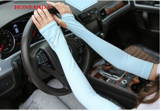200pair New Section Drove UV Sunscreen Half Finger Cuff Sunscreen Arm Sleeves Hand Protection Women Men Fingerless Long Gloves