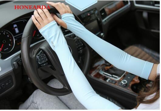 200pair New Section Drove UV Sunscreen Half Finger Cuff Sunscreen Arm Sleeves Hand Protection Women Men Fingerless Long Gloves