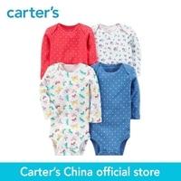 Carter S 4 Pack Baby Children Kids Clothing Girl All Seasons Cotton Long Sleeve Original Bodysuits
