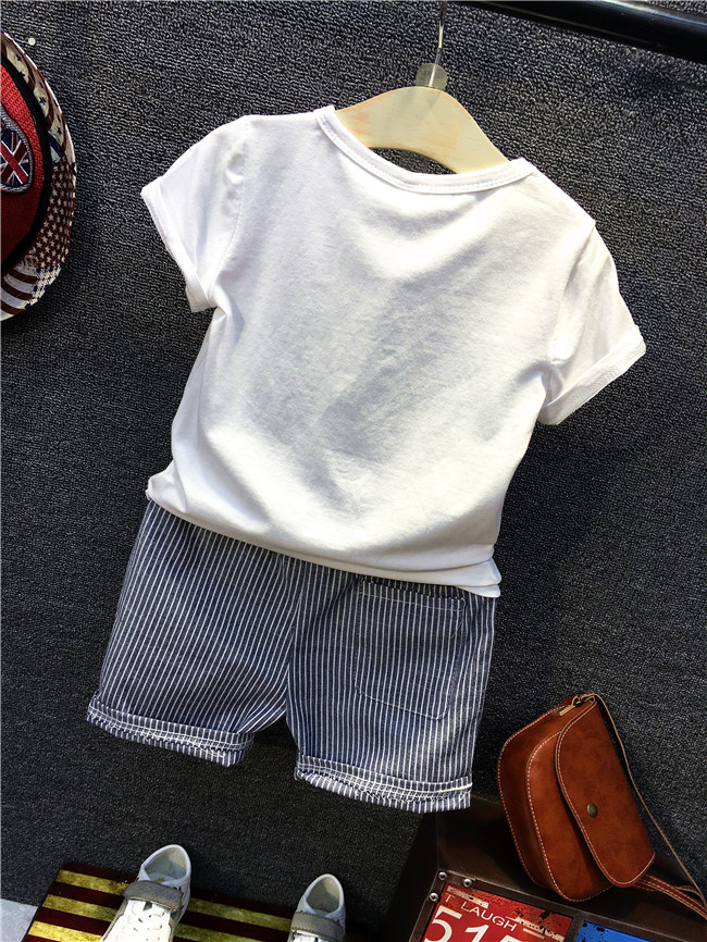 2017 Baby Boys Sets Summer Girls Sets Clothes Dinosaur Printing T Shirt+striped Shorts Cotton Sports Set Children Suit