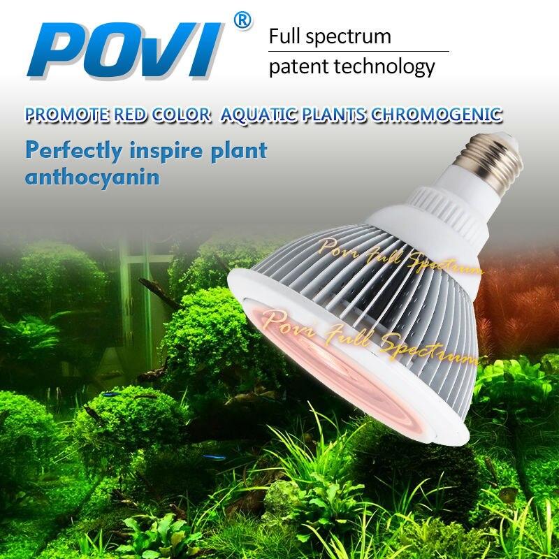 POVI LED Aquarium Aquarium Aquarium eau plante Clip lumière chargeur promouvoir couleur rouge plantes aquatiques chromogène