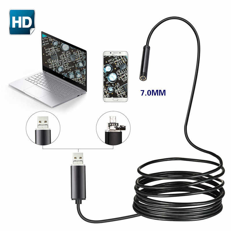 7mm 2 IN 1 USB endoskop 480 P HD Yılan Tüpü ve Android Borescope USB Endoscopio Muayene Mikro Kamera PC Akıllı Telefon