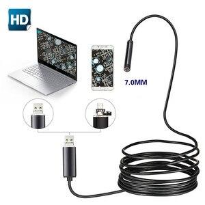 Image 1 - 7 مللي متر 2 في 1 USB المنظار 480P HD الأفعى أنبوب و أندرويد Borescope USB المنظار التفتيش كاميرا مايكرو ل PC الهواتف الذكية