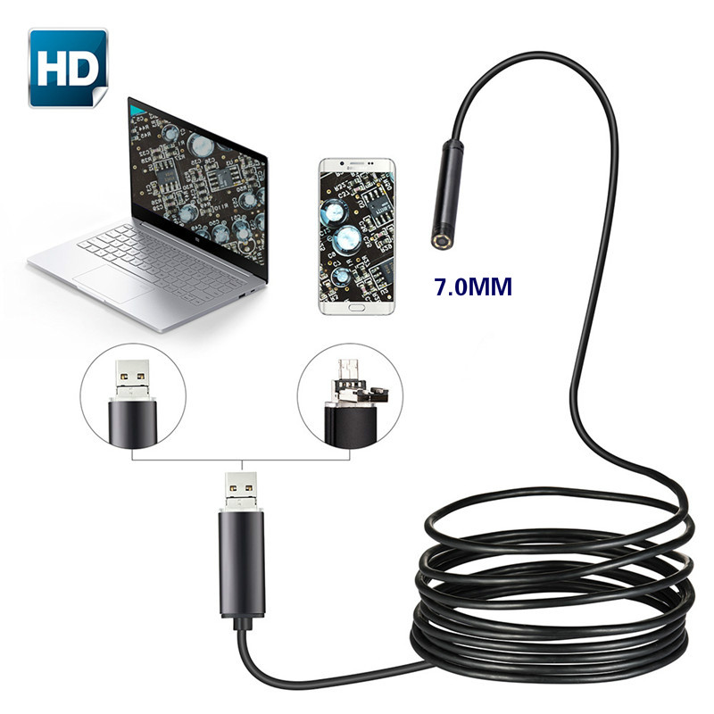 7mm 2 IN 1 USB Endoscope 480P HD Snake Tube And Android Borescope USB Endoscopio Inspection Micro Camera For PC Smart Phone