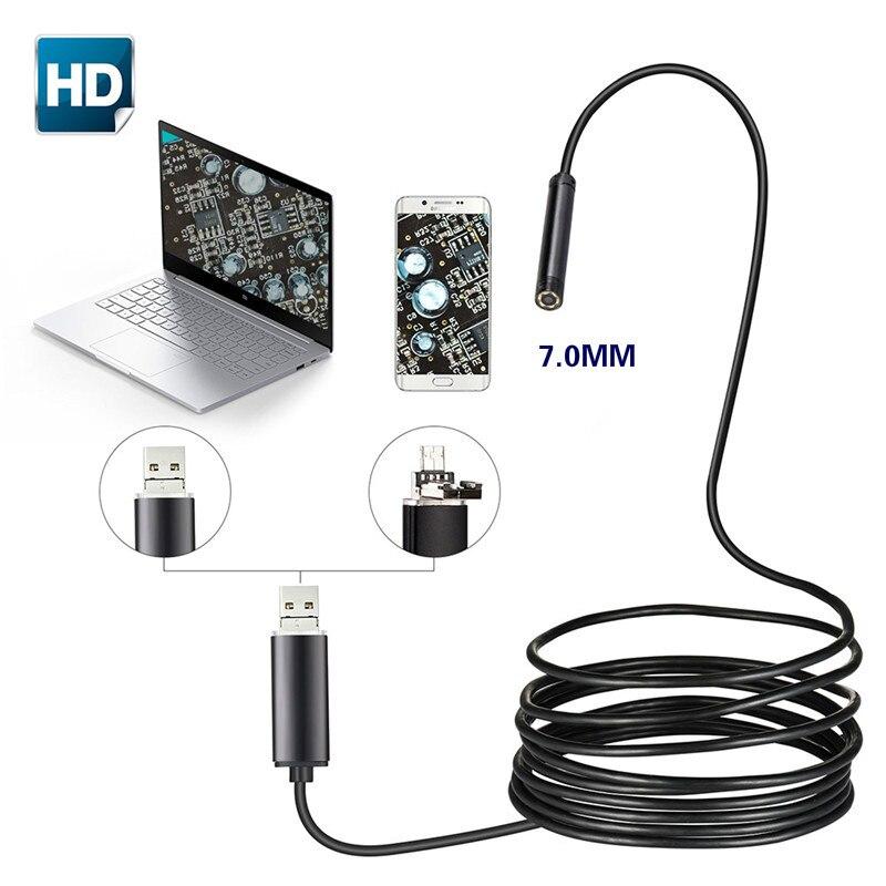 7mm 2 en 1 USB Endoscope 480 P HD serpent Tube et Android Endoscope USB Endoscope Inspection Micro caméra pour PC téléphone intelligent