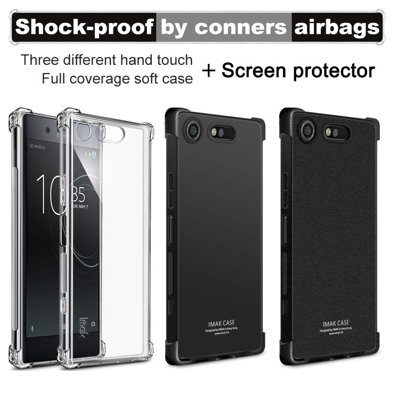 Airbag version For Sony Xperia XZ1 Case with Screen Protector IMAK Soft TPU silicone Back Cover For Sony Xperia XZ1 Compact