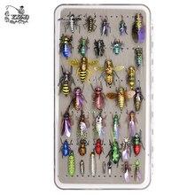 مجموعة حشرات صيد الذبابة تشكيلة ذبابة الحورية الرطبة الجافة مع سمك السلمون المرقط 36 أطقم