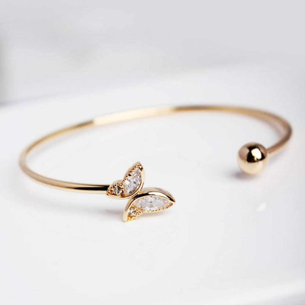 Elegant Women Gold Open Bangle Fashion High Quality Crystal Butterfly Bangle Bracelet Wedding Party Accessories Hot Gift