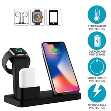 New 10W Qi Wireless Charger For Iphone X 8 3 IN 1 Fast Quick Charge Dock Apple Watch 4 2 Carregador