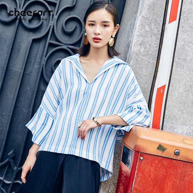 81621a56d0cd Cheerart 2017 Autumn Blue Striped Blouse Women Sailor Collar Navy Loose  Plus Size Casual Tops And Blouses Femme