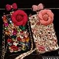 Colhedor de luxo 3D Flor de Diamante Caso Rhinestone Cristal Bling Capa Fundas Coque capa para para iphone 6 s 6 plus 5S 5 5c 4S 4