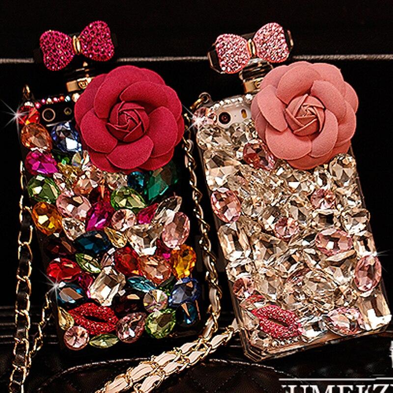 imágenes para Cordón de lujo Flor 3D Cubierta de la Caja Del Rhinestone Del Diamante de Cristal Bling Fundas Coque Capa para para el iphone 6 s 6 plus 5S 5 5C 4S 4