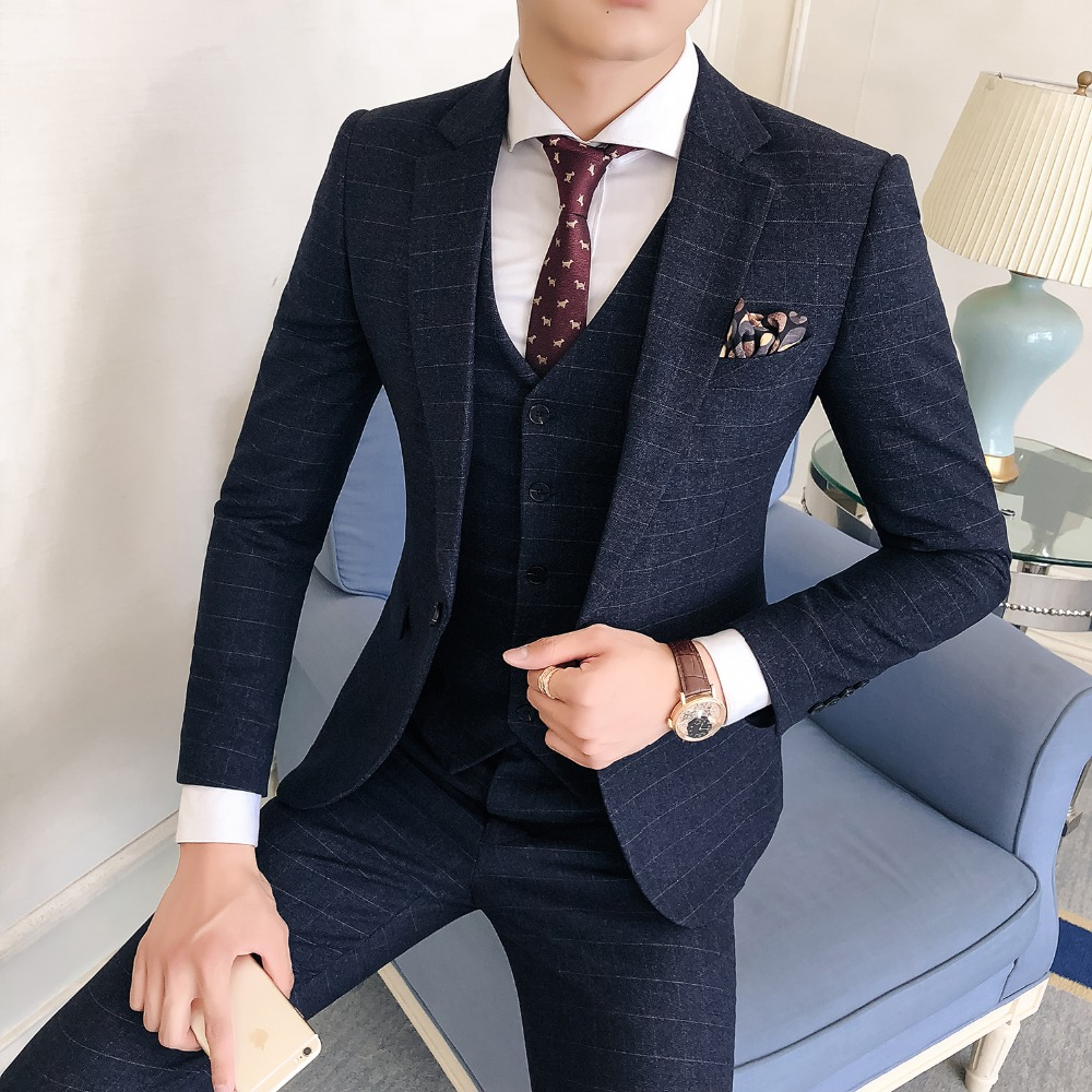 New Fashion Hot Sale Brand 2018 men's casual high quality weeding suit male slim london style big solid blazer vest and pants
