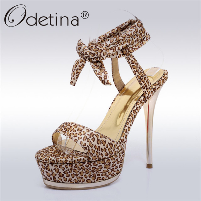 b214be97ca92 Odetina 2018 New Women Extreme High Heels Sandals Sexy Leopard Ankle Strap  Shoes Lady Thin Heel Platform Party Shoes Big Size 43