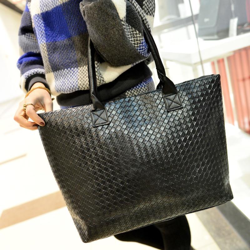 Women Tote Zipper Handbags Luxurious PU Leather Bucket Soft Shoulder Bags Plaid Decor High-Capacity Female Shopping Party