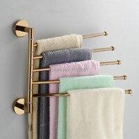 Free Shipping Bathroom Towel Rack Fashion Rose Gold Copper Folding Movable Bath Towel Bar Towel Warmer