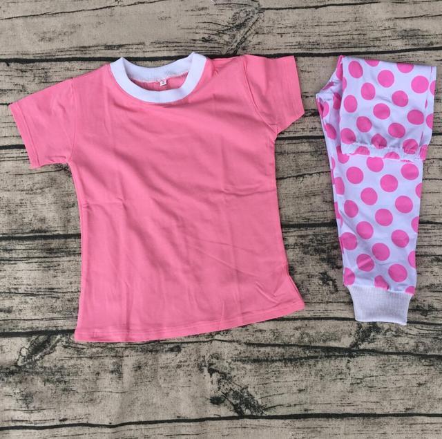 489ea2f587 Precio barato de san valentín blanco pink white dot niños ropa de dormir de  algodón pijamas