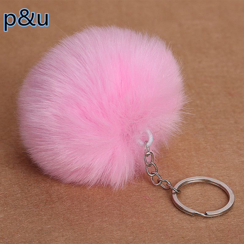 Lovely Fluffy Rabbit Ear Fur Ball Key Chain Rings Pendant Cute Pompom Faux Rabbit Fur Keychain Women Car Bag Key Ring