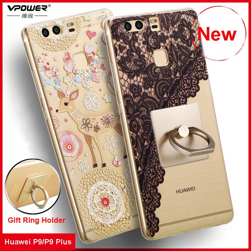 Vpower For Huawei P9 Case 3D Relief Cartoon Back Cover Soft Silicone Phone Cover Cases For