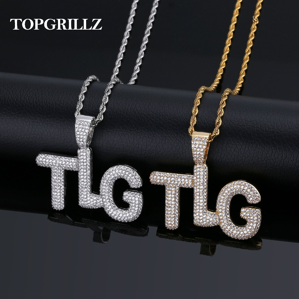 TOPGRILLZ Lil Pump TLG  Iced Out AAA+ CZ Bubble Letter Pendant Necklace Hip Hop Gold Silver Color Men Charms Chain JewelryTOPGRILLZ Lil Pump TLG  Iced Out AAA+ CZ Bubble Letter Pendant Necklace Hip Hop Gold Silver Color Men Charms Chain Jewelry