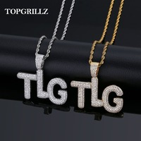 TOPGRILLZ Lil Pump TLG Iced Out AAA+ CZ Bubble Letter Pendant Necklace Hip Hop Gold Silver Color Men Charms Chain Jewelry