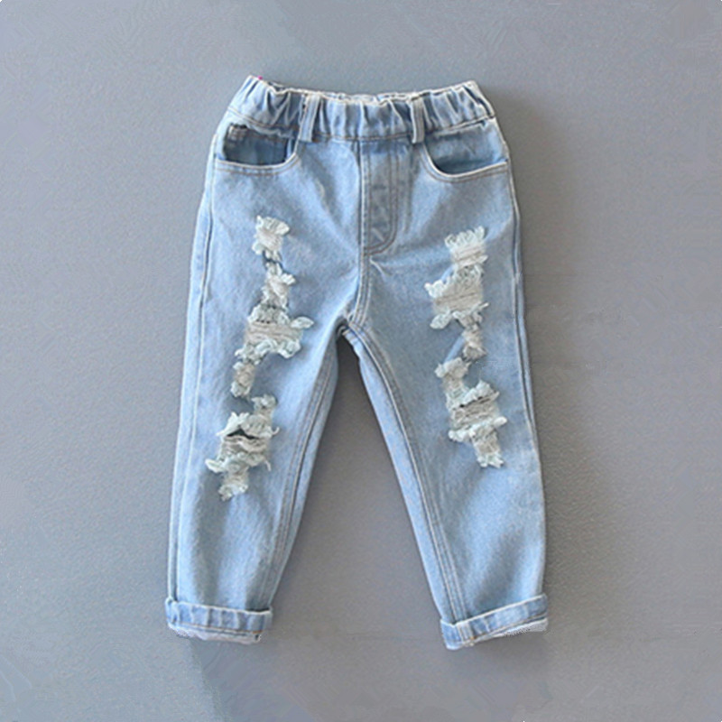 b0b974d82 Retail 2018 hot sale children Boys and girls new autumn distrressed jeans  Kids summer casual ripped denim pants 3-8 Years
