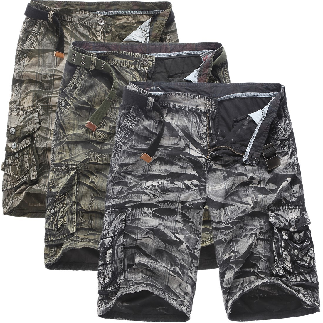 Summer outfit camouflage men's pure cotton loose shorts G360
