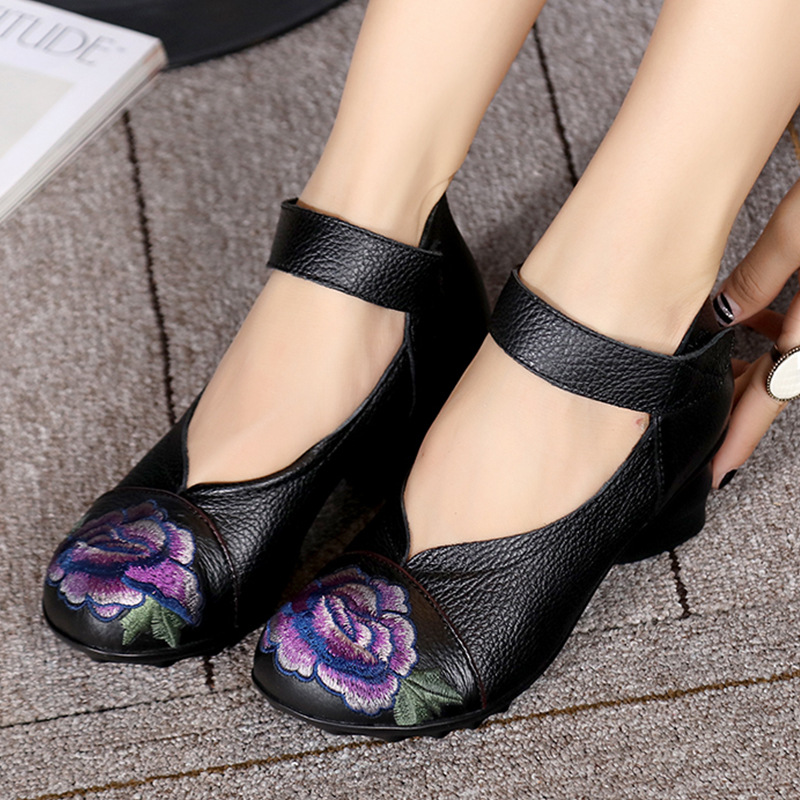 ФОТО Vintage ethnic women pumps shoes embroider medium heels printing leather shoes comfortable women heels casual