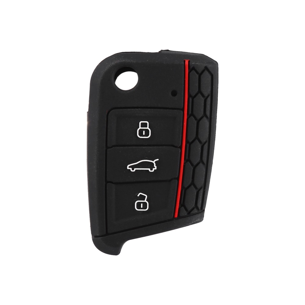 Silicone 3 Buttons Remote Car Keyless Key Case Cover Shell fit for Volkswagen VW Golf 7