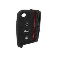 Силиконовые 3 Кнопки Дистанционного Автомобиль Keyless Ключеник Крышка Shell, пригодный для Volkswagen VW Golf 7 Черный Новый