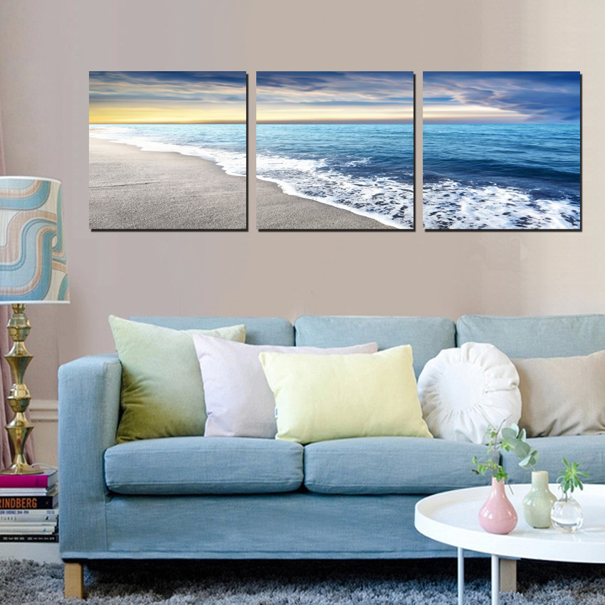 2017 Sale Paintings 3 Panels Wall Art Pictures Sky Beach Sea Oil Painting On Canvas Bedroom Decor Modern Living Home Decoration