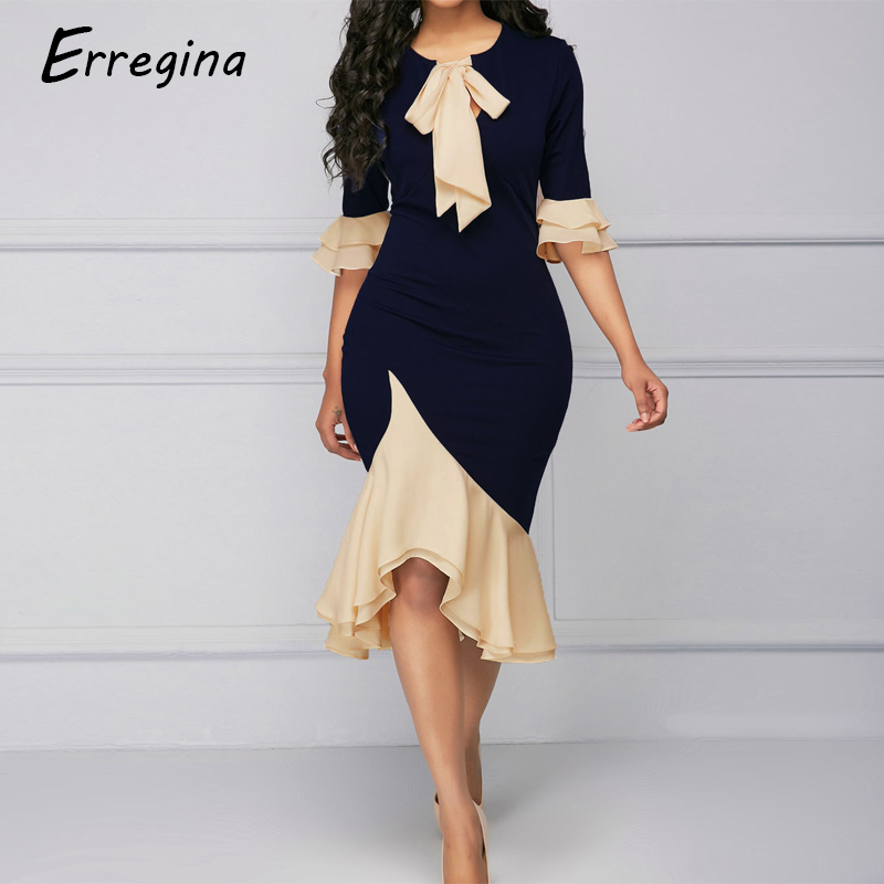 Erregina Formal Ladies Office Dress Vintage Women Half Sleeve Ruffle Hem Mermaid Bodycon Midi Cocktail Party Dress with Bow in Dresses from Women 39 s Clothing