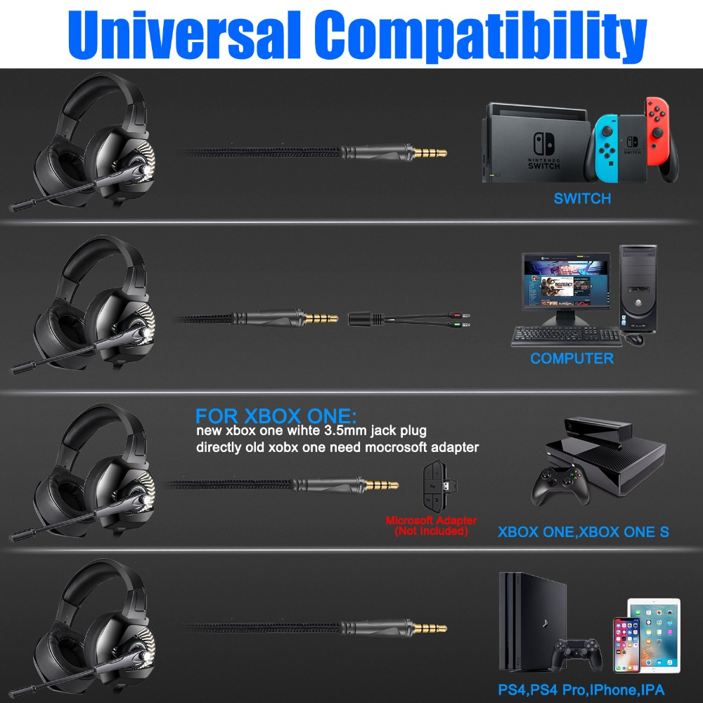 ONIKUMA K6 Gaming Headset With Microphone Casque PC Gamer Bass Stereo Headphones For PS4 Gamepad New Xbox One Laptop Computer