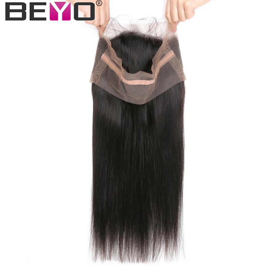 Beyo 360 Lace Frontal Peruvian Straight Hair 100% Human Hair Extensions Pre Plucked Frontal Closure With Baby Hair Non Remy Hair