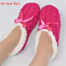 Rainbow Bowl Free Shipping Women Winter Warm Plush Cotton-padded Shoes  Home Slippers Indoor Home Shoes Foot Warmer Floor Socks