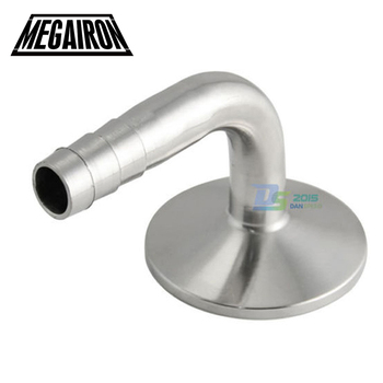 "MEGAIRON 3/4"" OD 19mm Sanitary Hose Barb with 90 Degree Elbow Ferrule OD 50.5mm SS316 Fit 1.5"" Clamp Pipe Fitting"