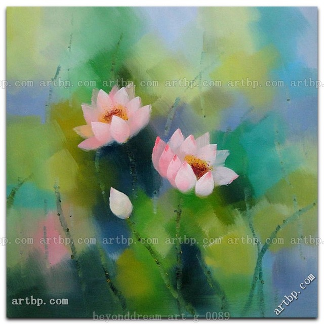Pink Lotus Flowers In Spring Oil Painting Asian Flower Black White