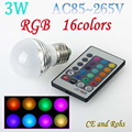 LED RGB Bulb Lamp E27 E14 AC85-265V 3W LED RGB Spot Blubs Light Magic Holiday RGB lighting+ 24key Remote Control