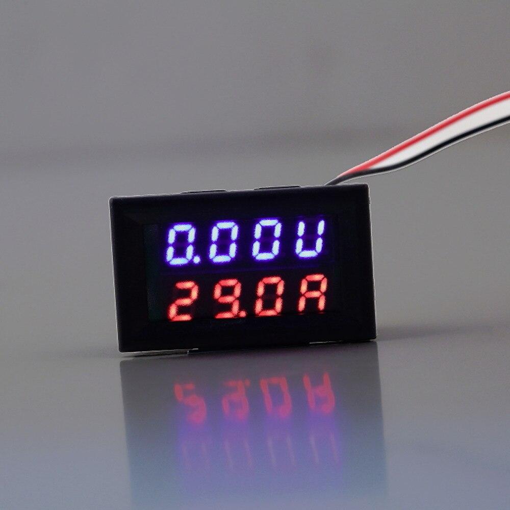 0-100V 10A Red Blue LED DC Dual Display Voltage Meter Digital LED Voltmeter Ammeter Panel Amp Volt Gauge Wholesale hot 2pc lcd digital voltmeter ammeter voltimetro red led amp amperimetro volt meter gauge voltage meter dc wholesale
