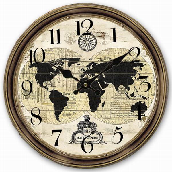 Retro Vintage Style Grosse Horloge Carte Du Monde Globe