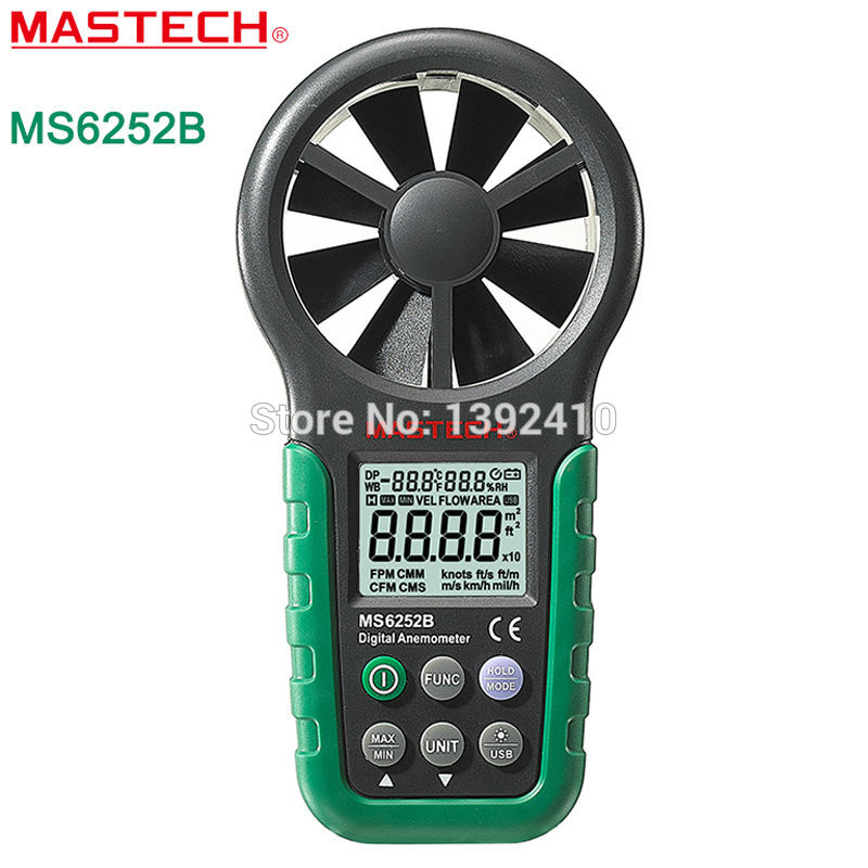 MASTECH MS6252B Handheld Digital Anemometer Wind Speed Meter Air Flow Tester With USB Interface peakmeter ms6252b digital anemometer air speed velocity air flow meter with air temperature humidity rh usb port